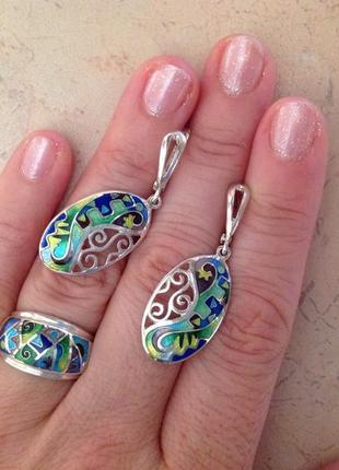 Кольцо серьги серебро минанкари эмаль грузия
