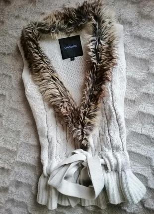 Жакет жилетка вязаная косы с мехом под пояс акриловая тёплая