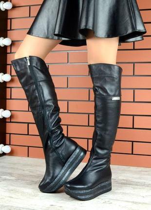 Сапоги-ботфорты черные на высокой платформе деми/зима натуральная кожа