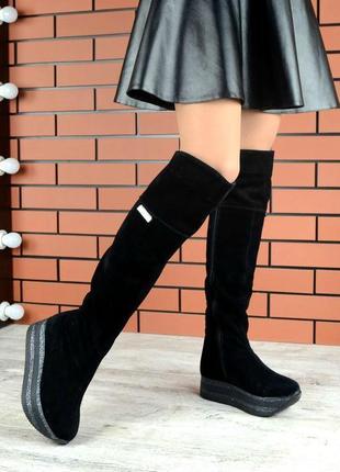 Сапоги-ботфорты черные на высокой платформе деми/зима натуральная замша