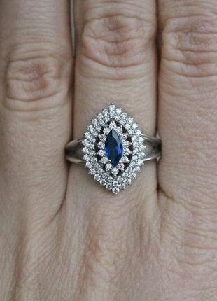 Серебряное кольцо агра синее р.18,5
