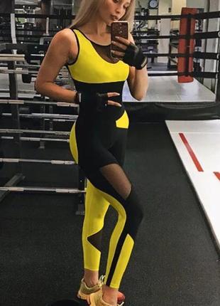 Черно-желтый спортивный комбинезон для фитнеса, йоги, танцев, полотен🖤💛