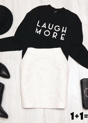 H&m фактурная мини юбка на талию s-м белая трапеция вечерняя классика стильная прямая