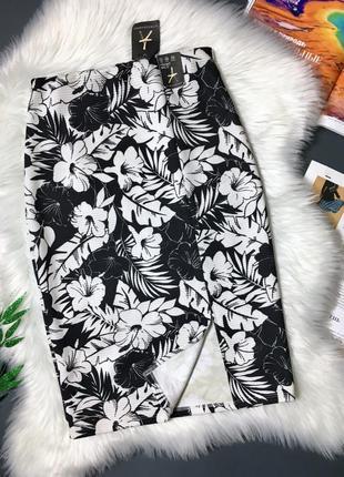 Облегающая юбка с принтом с биркой