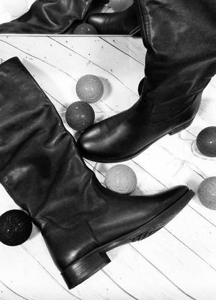 Женские кожаные сапоги зима на шерсти