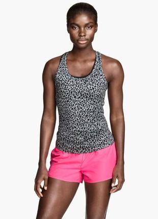 🌿спортивная майка топ h&m маечка для спорта принт леопард