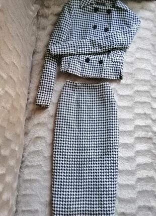 Костюм шерстяной пиджак жакет блейзер юбка миди карандаш принт гусиная лапка next 38размер