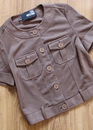 Обалденный женский жакет пиджак в шоколадном цвете love moschino италия