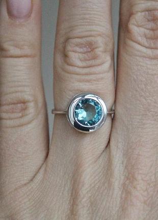 Серебряное кольцо бакарди голубое р.17,5