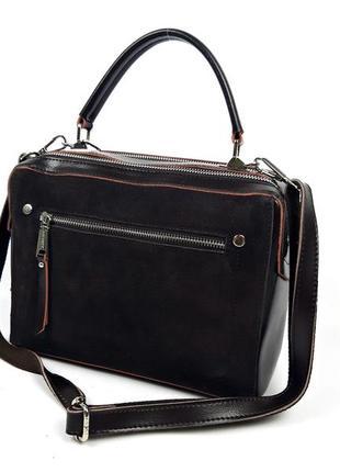 Женская кожаная сумка-чемоданчик коричневого (шоколад) цвета