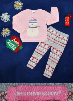 Новогодний костюм свитер и рейтузы со снеговичками р.92/98