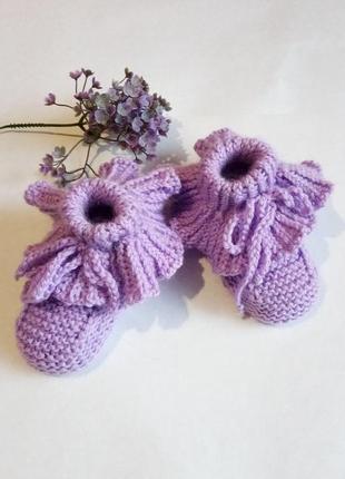Вязаные пинетки тапочки вязаные вязаные носки