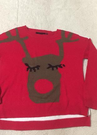 Новогодний свитер с оленем оверсайз