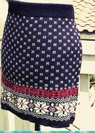Зимняя теплая вязаная юбка большого размера