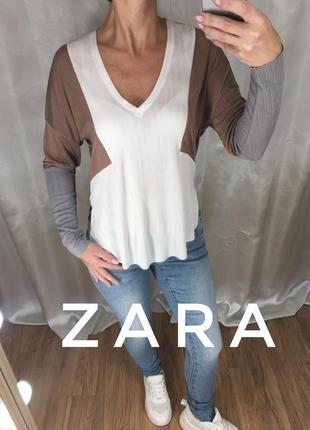 Блузка с необработанным низом zara