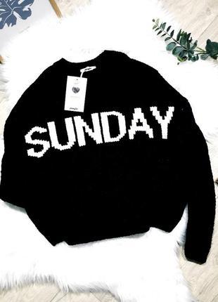 Актуальный велюровый свитерок с надписью sunday jennyfer
