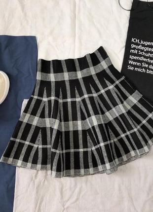Теплая клетчатая юбка| юбка солнце