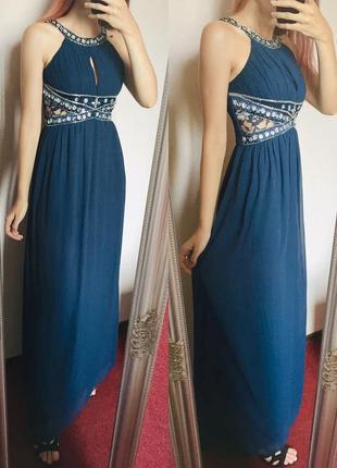 Синее макси нарядное платье на выпускной на праздник новый год
