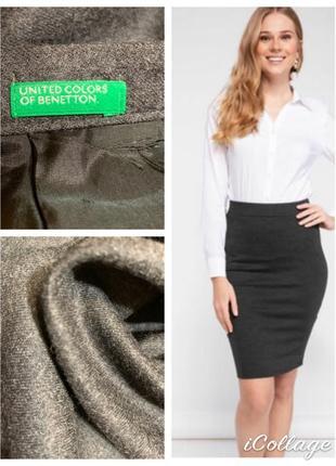 Pure laine vierge прямая классическая теплая шерстяная юбка beneton