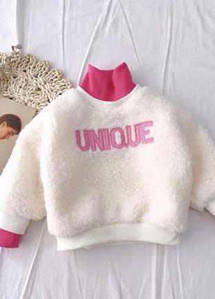 Детские плюшевый свитер под горло белый
