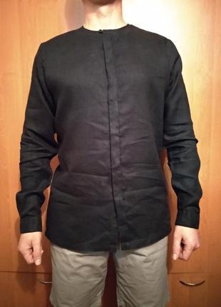 Крутая мужская льняная рубашка лён 48 размер пог-54 см