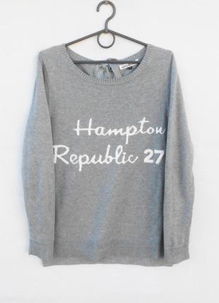 Брендовый базовый серый  трикотажный свитер свитшот  с надписью с длинным рукавом 🌿