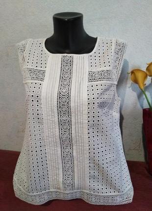 Брендовая блузочка выбитый хлопок с кружевом, laura ashley