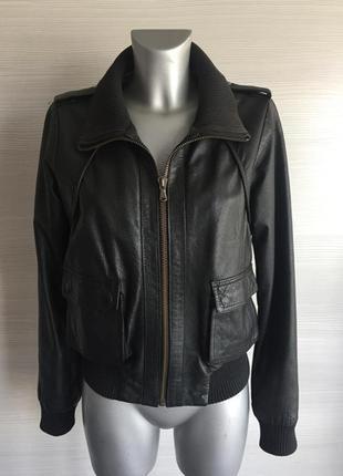 Кожаная бомбер куртка с карманами south