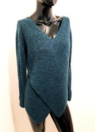 Бирюзовый свитер джемпер интересного кроя