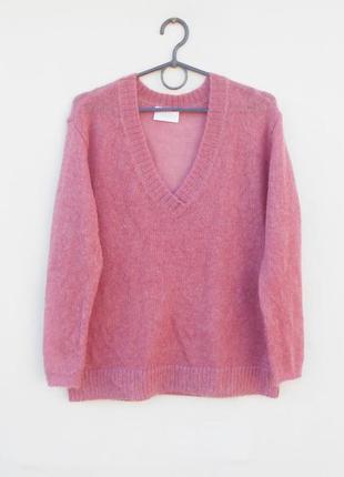 Мягкий  свитер свободной вязки из шерсти и мохера длинный рукав savida