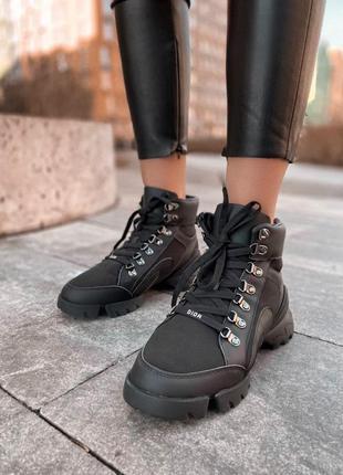 Кроссовки кожаные с мехом в черном цвете /осень/зима/весна😍