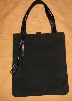Сумка торба из натуральной замши и кожи