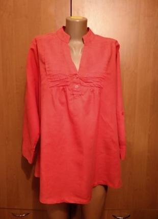Классная льняная блузка лен и хлопок пог 60 см