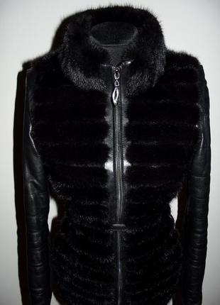 Кожаная куртка с норкой трансформер , жилетка норковая р.s