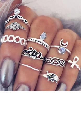 Набор колец кольца на фаланги бохо этно этнические