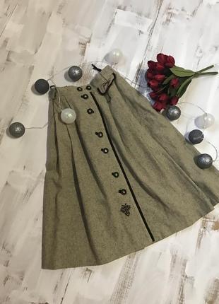 Спідниця міді юбка миди теплая зимняя на пуговицах
