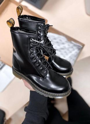 Dr.martens black fur кожаные женские ботинки с мехом/осень/зима/весна😍