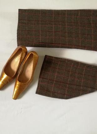 Винтажш/ туфли / кожа / кожаный / низкий каблук / длинный носок / обувь