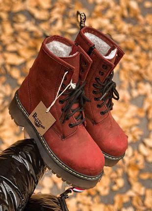 Dr. martens jadon bordo зимние меховые ботинки в бордовом цвете /осень/зима/весна😍