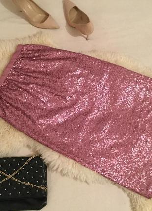 Нереально-крутая блестящая пайетками пудровая юбка миди карандаш на р.s/36...👠🌹