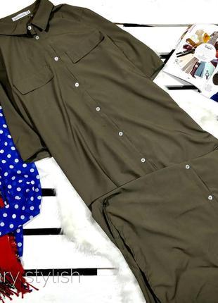 Длинное платье рубашка хаки misslook
