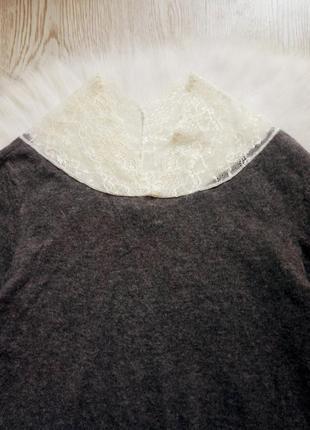 Серый шерстяной свитер вязаная кофта с ажурным воротником гипюр декольте пуловер