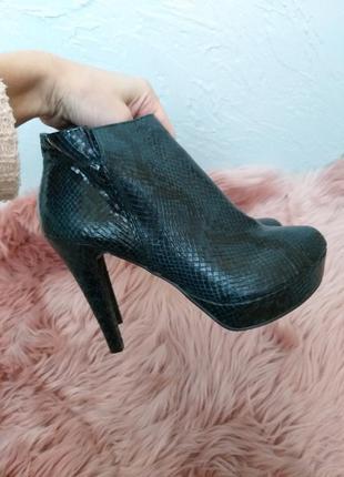 Ботинки на каблуке змеиный принт