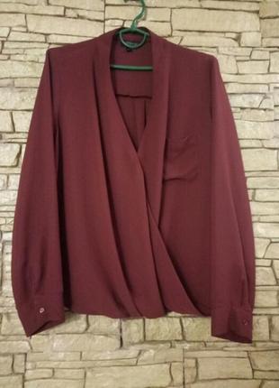 Блуза с длинным рукавом,цвет марсала,батал