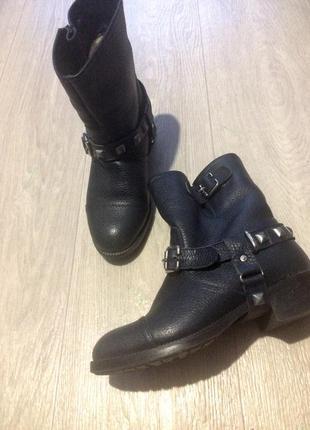 Сапоги ботинки кожа зима