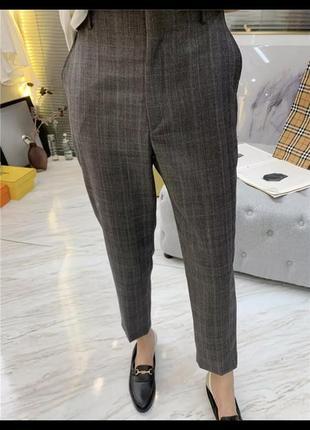 Новые женские штаны брюки на высокой посадке в клеточку