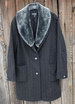 Esprit женское шерстяное пальто с мехом на воротнике классическое в строчку размер l