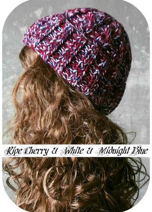 Любая расцветка! хлопковая шапка с отворотом/косы/вишня, белый, полуночно-синий/меланж