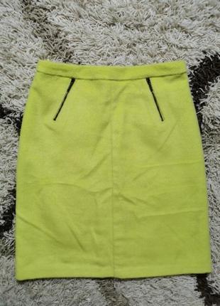 Шикарная юбка миди карандаш зима шерстяная лимонная m&spencer