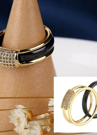 Кольцо колечко керамика черное золотистое керамическое
